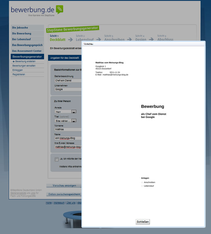 Bewerbungsgenerator Erstelle Deine Bewerbung Jetzt Direkt Online